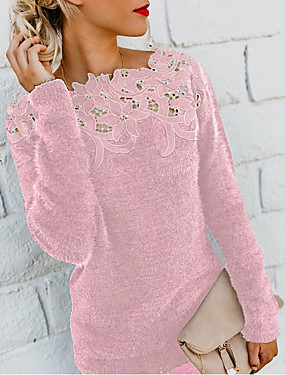 cheap Valentine's Day Gifts-Women's Solid Colored Long Sleeve Pullover Sweater Jumper, Round Neck Black / Wine / Purple S / M / L