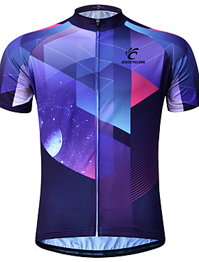 cheap Sports & Outdoors-JESOCYCLING Men's Short Sleeve Cycling Jersey Purple Bike Jersey Mountain Bike MTB Road Bike Cycling Breathable Quick Dry Anatomic Design Sports Clothing Apparel / Stretchy / Back Pocket