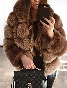 levne Party noc-Dámské Denní Podzim zima Standardní Faux Fur Coat, Jednobarevné Kapuce Dlouhý rukáv Umělá kožešina Černá / Hnědá / Tmavě šedá