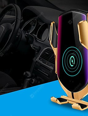 preiswerte Automobil-r1 smart automatische klemmung qi auto drahtlose ladegerät 10 watt schnellladung 360 umdrehung infrarot sensor smart app positionierung lüftungsschacht halterung autotelefonhalter für iphone xr xs hua