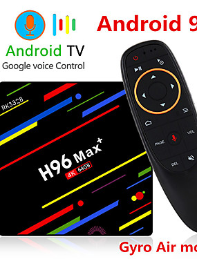 preiswerte Unterhaltungselektronik-h96 max plus sprachsteuerung smart tv box android 9.0 rk3328 4 karat media player quadcore 4 gb ram 64 gb rom android 8.1 rockchip set top box 2,4 g / 5 g wifi h.265 h96max + tvbox usb3.0 bt