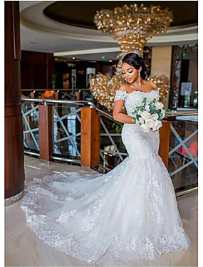cheap The Wedding Store-Mermaid / Trumpet Wedding Dresses Off Shoulder Chapel Train Lace Tulle Lace Over Satin Regular Straps Sexy Plus Size with Appliques 2020