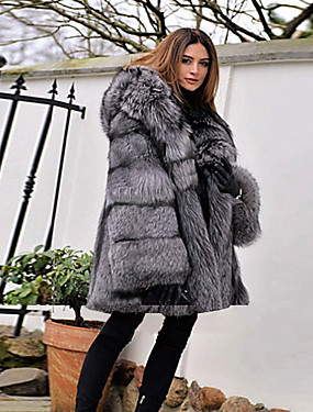 levne Party noc-Dámské Párty / Denní Základní Zima Standardní Faux Fur Coat, Jednobarevné Kapuce Dlouhý rukáv Umělá kožešina Šedá
