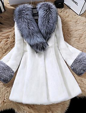 levne Party noc-Dámské Denní Základní Podzim zima Standardní Kožich, Jednobarevné Šálové klopy Dlouhý rukáv Polyester Černá / Bílá