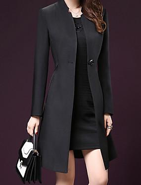 preiswerte Damen Überbekleidung-Damen Alltag Grundlegend Herbst Winter Lang Mantel, Solide ohne Kragen Langarm Polyester Schwarz / Purpur