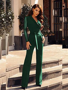cheap Women's Jumpsuits-Women's Black Wine Green Jumpsuit, Solid Colored S M L