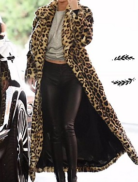 levne Party noc-Dámské Denní Podzim zima Standardní Faux Fur Coat, Leopard Přehnutý Dlouhý rukáv Umělá kožešina Khaki