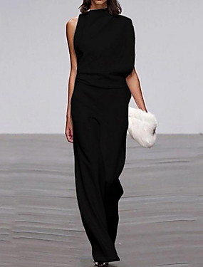 cheap Women's Jumpsuits-Women's Black Wine White Jumpsuit, Solid Colored S M L