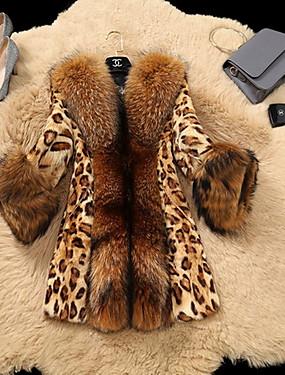 levne Party noc-Dámské Denní Standardní Kožich, Leopard Polostojatý límec Dlouhý rukáv Umělá kožešina Žlutá