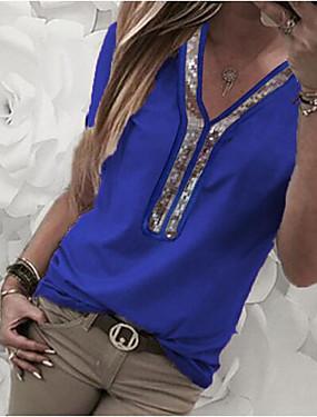billige Ned til $ 2,99-Dame Plusstørrelser Farveblok Pailletter Glitter Chiffon T-shirt Dagligdagstøj V-hals Vin / Hvid / Sort / Blå / Lilla / Rosa / Kakifarvet