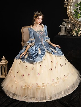 cheap Toys & Hobbies-Maria Antonietta Rococo Baroque Victorian Dress Party Costume Masquerade Women's Tulle Satin Costume LightBlue Vintage Cosplay Party Halloween Party & Evening Floor Length Ball Gown Plus Size
