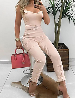 cheap New Arrivals-Women's Wine Blushing Pink Jumpsuit, Solid Colored S M L