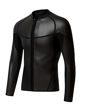 cheap Sports & Outdoors-Women's Wetsuit Top Wetsuit Jacket 2mm CR Neoprene Top UV Sun Protection Ultraviolet Resistant UPF50+ Long Sleeve Front Zip - Snorkeling Wakeboarding Water Sports Solid Colored Summer