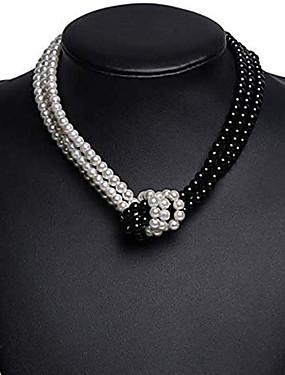 povoljno Ženski nakit-Žene Ogrlica Dvobojna Čvor Azijski Jednostavan Europska Moda Imitacija bisera Krom Crn Sive boje 40 cm Ogrlice Jewelry 1pc Za Dnevno Večer stranka