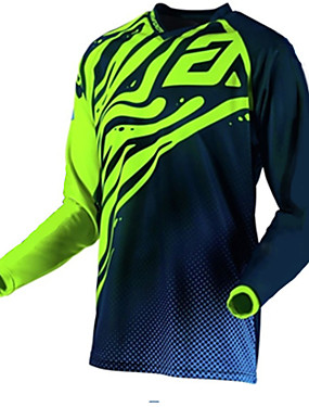 povoljno Odjeća za motocikle-Muškarci Dugih rukava Biciklistička majica Downhill Jersey Dirt Bike Jersey Crna / Green Geometic Bicikl Biciklistička majica Odjeća za motocikle Majice Brdski biciklizam biciklom na cesti Ugrijati