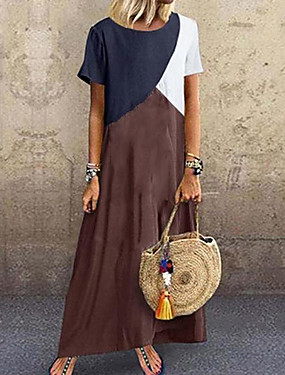 cheap Special Sales-Women's Maxi Purple Green Dress Basic T Shirt Color Block Patchwork S M