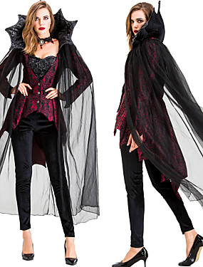 cheap Toys & Hobbies-Vampire Cosplay Costume Cloak Masquerade Adults' Women's Cosplay Halloween Halloween Festival / Holiday Tulle Cotton Black Women's Carnival Costumes / Top / Pants / Neckwear