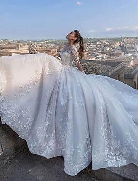 baratos Novidades-De Baile Decote V Cauda Capela Renda / Tule / Renda sobre Cetim Vestidos de casamento feitos à medida com Apliques de LAN TING Express