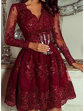 cheap Down to $2.99-Women's A-Line Dress Short Mini Dress - Long Sleeve Floral Solid Color Sequins Deep V Elegant Cocktail Party Going out Birthday Wine M L XL XXL XXXL