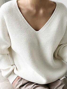 billige Nyheter-Dame Ensfarget Langermet Pullover Genserjumper, V-hals Svart / Hvit / Blå En Størrelse