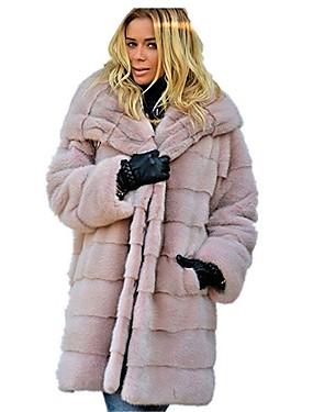 levne Party noc-Dámské Denní Podzim zima Standardní Faux Fur Coat, Jednobarevné Kapuce Dlouhý rukáv Umělá kožešina Černá / Světlá růžová / Hnědá