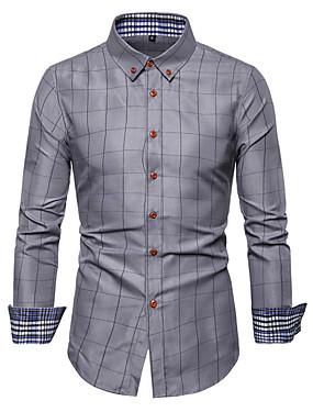 cheap Weddings & Events-Men's Plus Size Geometric Check Print Shirt Basic Daily Wine / White / Navy Blue / Gray / Long Sleeve