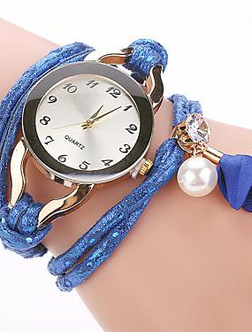 preiswerte Unter €9.9-Damen Armband-Uhr Kubikzirkonia Perlen Freizeit Elegant Weiß Blau Braun Edelstahl PU - Leder Quartz Weiß Blau Braun Armbanduhren für den Alltag Imitation Diamant 1 Stück Analog Ein Jahr