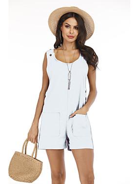preiswerte Damen Jumpsuits-Damen Street Schick Weiß Purpur Rosa Jumpsuit, Solide Patchwork S M L