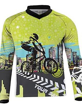 povoljno Odjeća za motocikle-21Grams Muškarci Dugih rukava Biciklistička majica Dirt Bike Jersey Zelena / crna Bicikl Biciklistička majica Odjeća za motocikle Majice Brdski biciklizam biciklom na cesti UV otporan Prozračnost