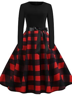 cheap Black Friday-Women's A Line Dress - Plaid Black S M L XL