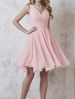 cheap The Wedding Store-A-Line Plunging Neck Knee Length Chiffon Bridesmaid Dress with Ruching