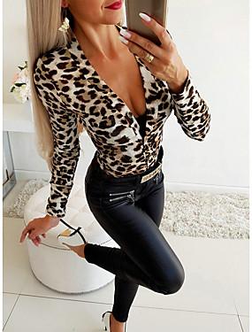 preiswerte Damen Jumpsuits-Damen Grundlegend Weiß Grau Jumpsuit, Leopard Druck S M L