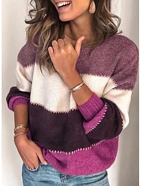 preiswerte Oberteile-Damen Gestreift Langarm Pullover Pullover Jumper, Rollkragen Schwarz / Purpur / Orange S / M / L