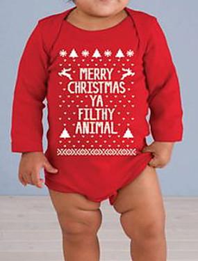preiswerte Unter €9.9-Baby Mädchen Grundlegend Geometrisch / Weihnachten Langarm Body Rote
