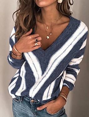preiswerte Damenbekleidung-Damen Gestreift Langarm Übergrössen Pullover Pullover Jumper, V-Ausschnitt Winter Wein / Purpur / Blau S / M / L
