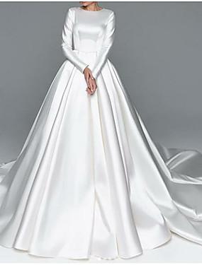 cheap Weddings & Events-A-Line Wedding Dresses Jewel Neck Chapel Train Satin Long Sleeve Simple Plus Size Elegant with 2020