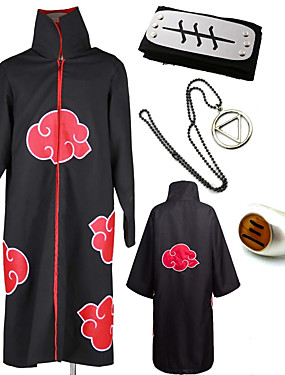 cheap Toys & Hobbies-Inspired by Naruto Akatsuki / Hidan Anime Cosplay Costumes Japanese Cosplay Suits / Cosplay Accessories Print 1 Ring / Cloak / Necklace For Men's / Headband / Headband