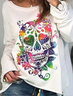 cheap Women's Clothing-Women's Plus Size T shirt Graphic Prints Skull Rainbow Long Sleeve Print Round Neck Tops Basic Basic Top White Blue Red