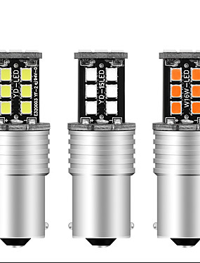 cheap Reversing Lights-2pcs 1156 BA15S Canbus Super Bright 12V DRL S25 2835 15 SMD 15 LED P21W led NO Error Turn Car Signal Parking Bulbs Front Turn