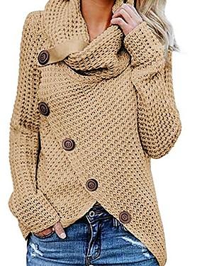 povoljno NewIn-Žene Jednobojni Dugih rukava Pullover Džemper od džempera, Dolčevita Crn / Lila-roza / Žutomrk S / M / L