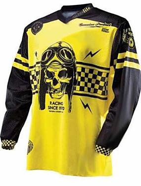 povoljno Odjeća za motocikle-21Grams Muškarci Dugih rukava Biciklistička majica Dirt Bike Jersey Crna / žuta Crno bijela / Bicikl Biciklistička majica Odjeća za motocikle Majice Brdski biciklizam biciklom na cesti UV otporan
