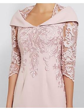 billige Bryllup & Eventer-skjede / søyle mor til brudekjole elegant pluss størrelse se gjennom dronning anne knelengde polyester halv erme med paljett 2020 mor til brudgommens kjoler