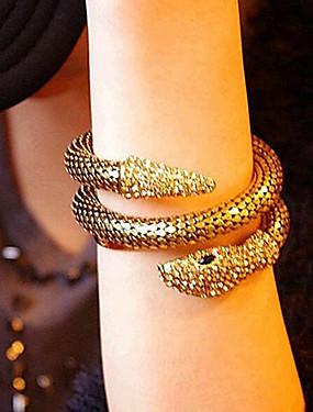 povoljno Ovojne narukvice-Žene Široke narukvice Zamotajte Narukvice Širok prstenje 3D Zmija dragocjen Vintage Umjetno drago kamenje Narukvica Nakit Zlato / Srebro Za Ulica Praznik