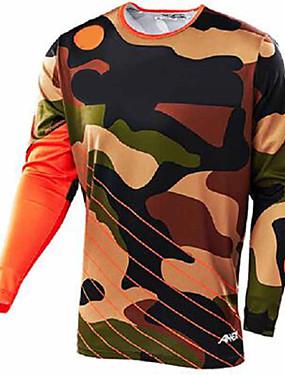 povoljno Odjeća za motocikle-21Grams kamuflaža Muškarci Dugih rukava Biciklistička majica Dirt Bike Jersey - Crna / Orange Crna / plava Bicikl Biciklistička majica Odjeća za motocikle Majice UV otporan Prozračnost Quick dry