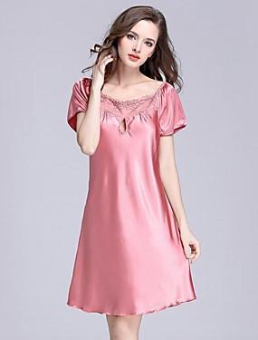 preiswerte Pyjamas-Damen Rundhalsausschnitt Satin & Seide Pyjamas Solide