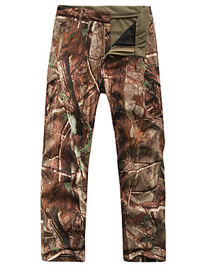 cheap Sports & Outdoors-Men's Camouflage Hunting Pants Thermal / Warm Waterproof Windproof Wear Resistance Fall Winter Camo / Camouflage Fleece Softshell Pants / Trousers Bottoms for Skiing Camping / Hiking Hunting