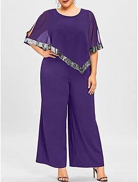cheap Women's Jumpsuits-Women's Basic Black Wine Purple Jumpsuit, Solid Colored Patchwork S M L
