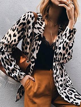cheap Black Friday-Women's Blazer, Leopard Notch Lapel Polyester Khaki