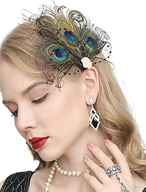 cheap Toys & Hobbies-The Great Gatsby Vintage 1920s The Great Gatsby Flapper Headband Women's Feather Costume Head Jewelry Earrings Fascinators Black / Green Vintage Cosplay Festival / 1 Pair of Earrings / Headwear