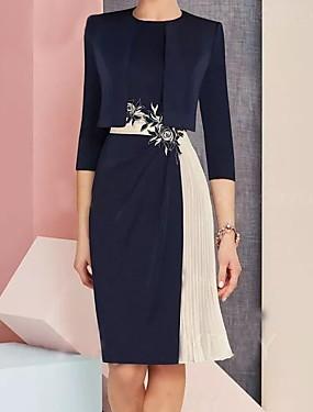 tanie Do 2,99 USD-Damskie Zmiana Sukienka - Rękaw 3/4 Kolorowy blok Granatowy M L XL XXL XXXL